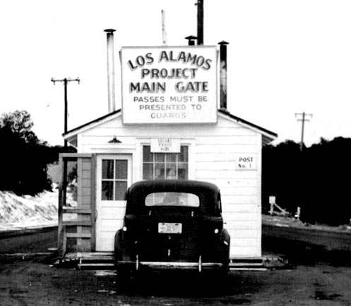 The main gate at Los Alamos during the Manhattan Project