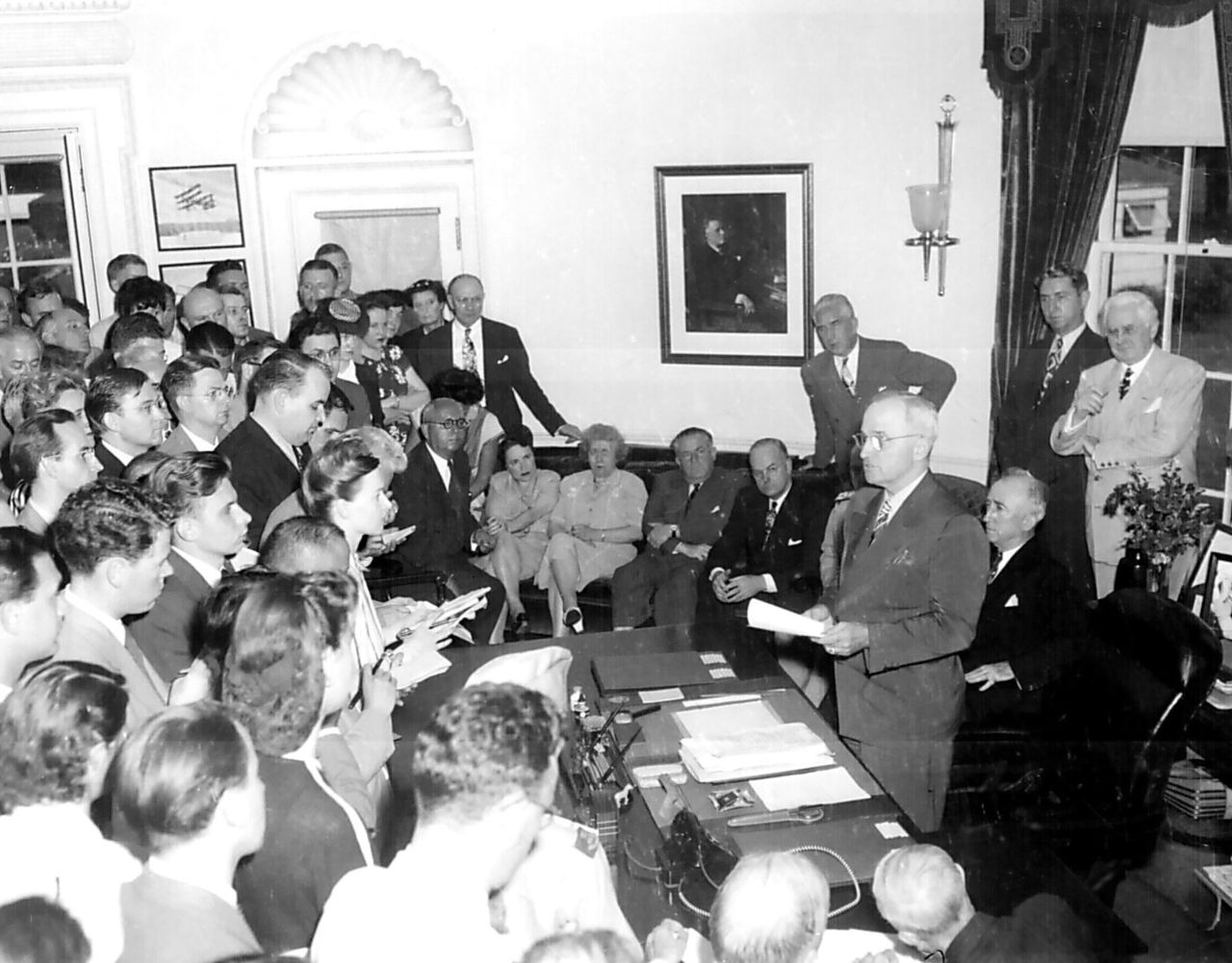 Truman announces Japanese surrender.