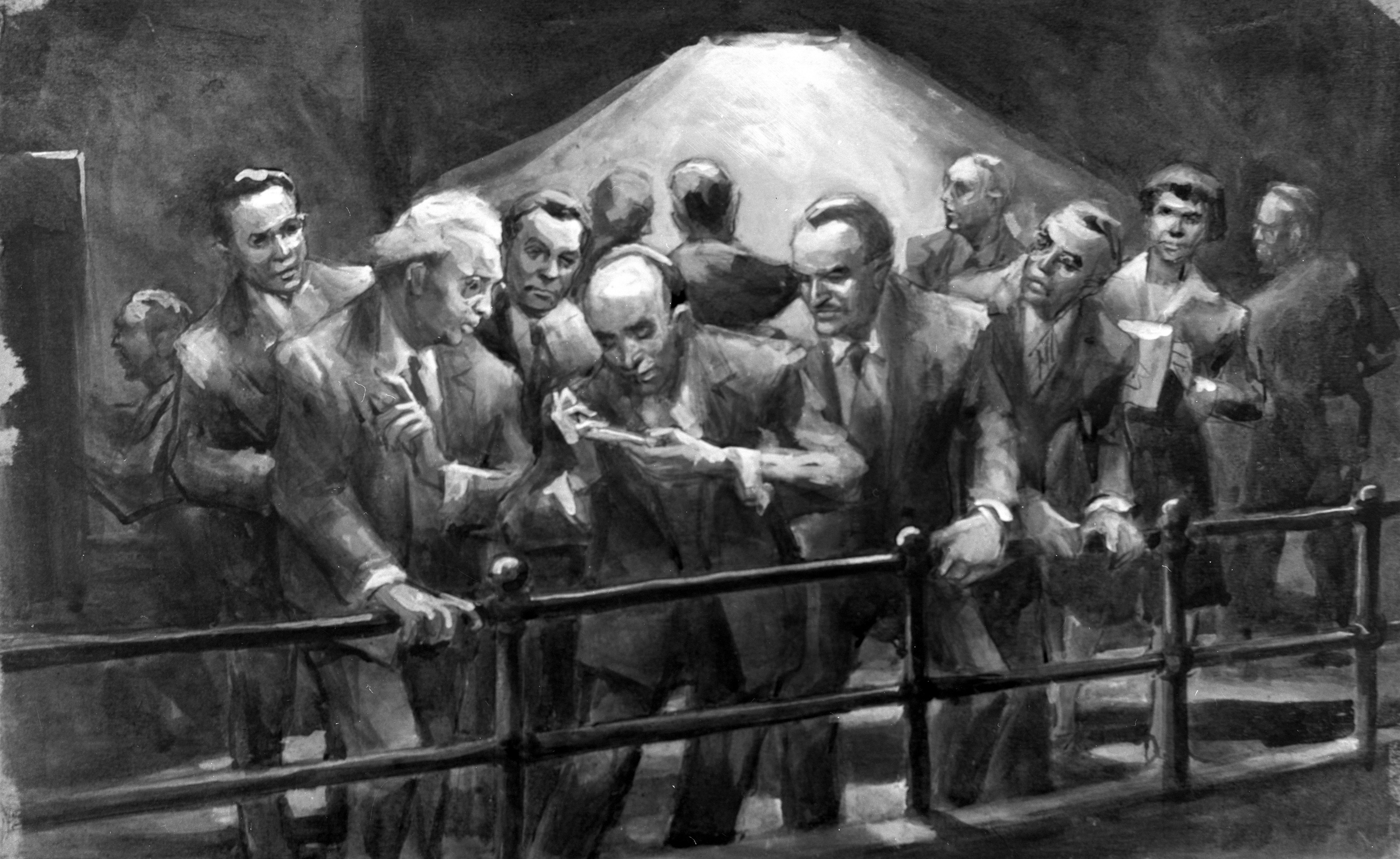 One of 24 John Cadel paintings recreating the Chicago Pile-1 going critical. Libby is second from right. Image courtesy of Argonne National Laboratory.