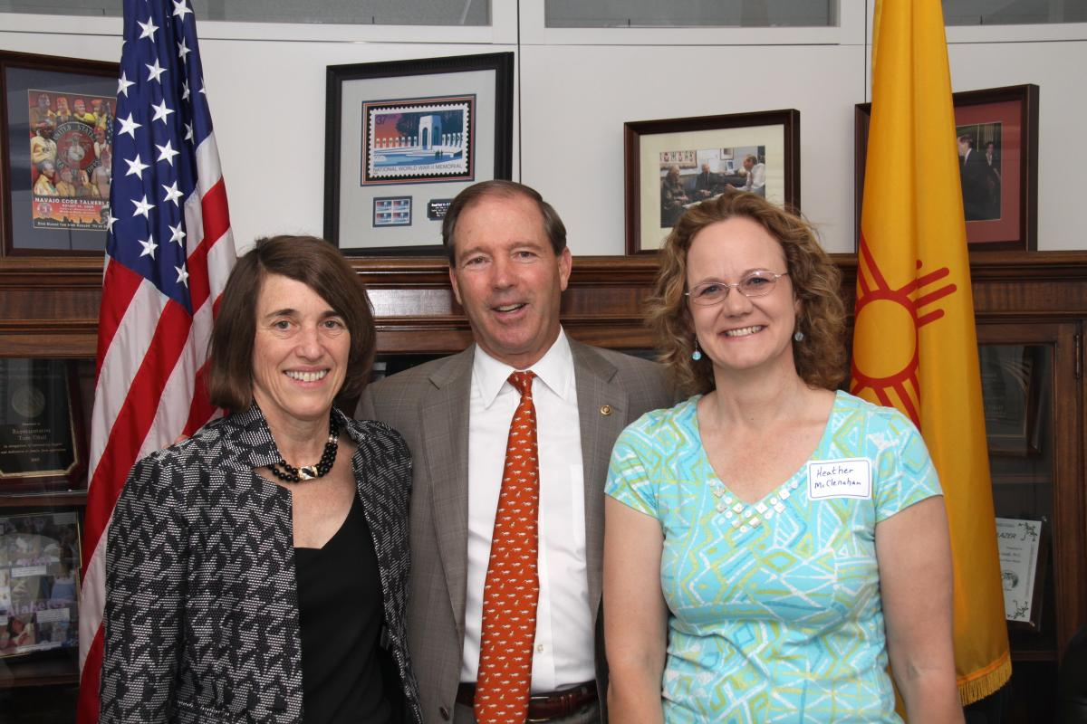 AHF President Cindy Kelly and Los Alamos Historical Society Executive Director Heather McClenahan with New Mexico Senator Tom Udall