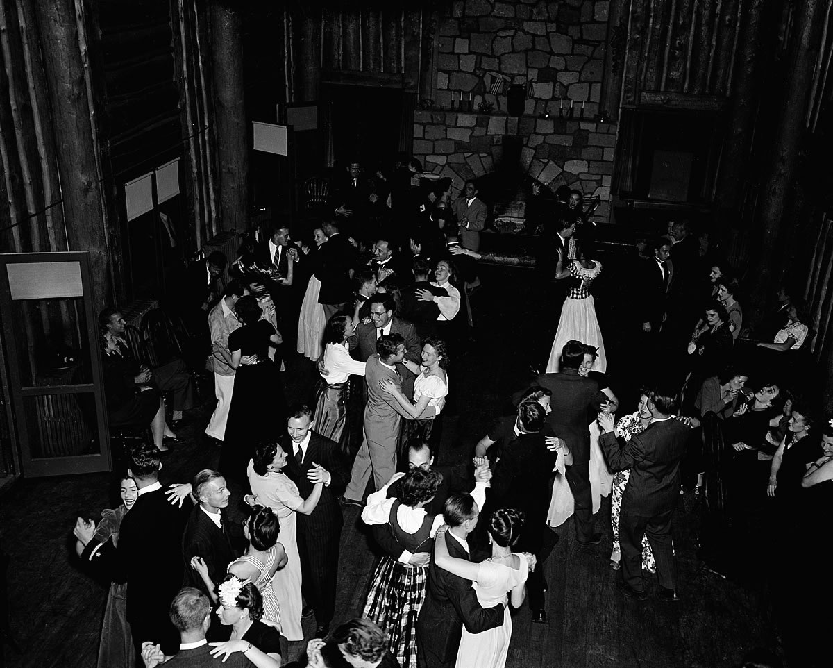 Dancing at British Mission party, 1945. Photo courtesy of Los Alamos National Laboratory.