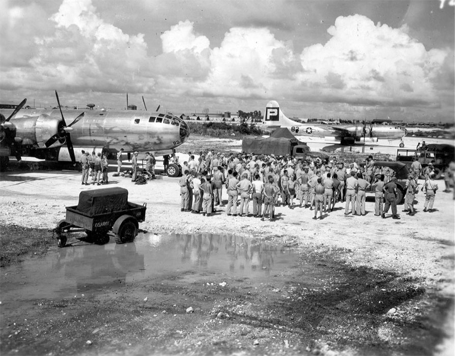 Gen. Spaatz Arrives for Send-off of Enola Gay on Tinian Island - 1945