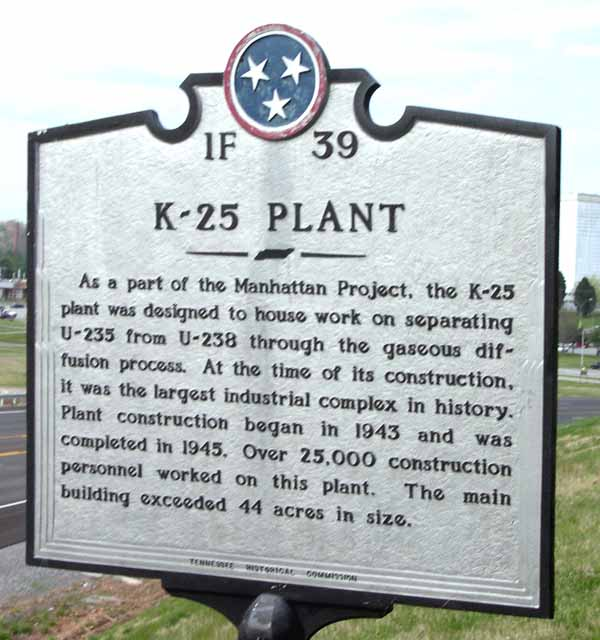 Sign for the historic K-25 Plant