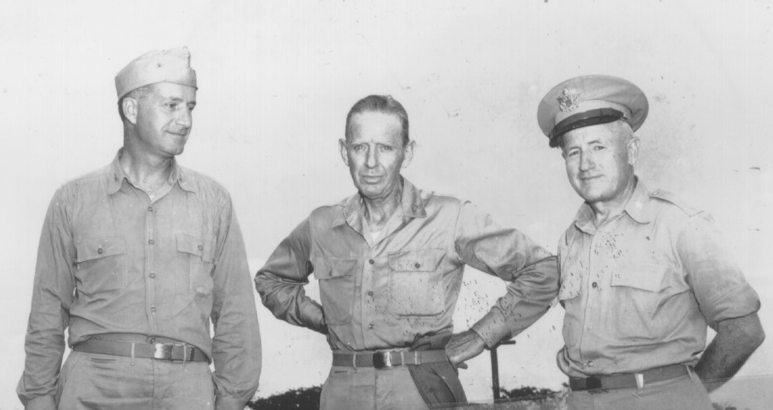 Captain Deak Parsons, Admiral William Purnell, and Major General Thomas Farrell on Tinian Island
