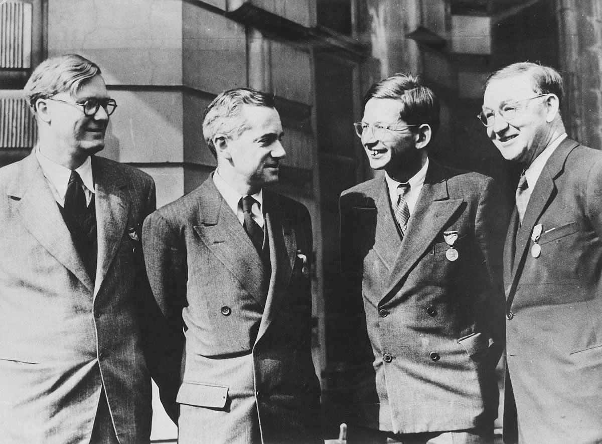 William Penney, Otto Frisch, Rudolf Peierls, and John Cockroft. Photo courtesy Atomic Heritage Foundation.