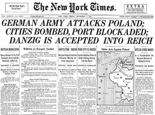 The New York Times front page on September 1, 1939