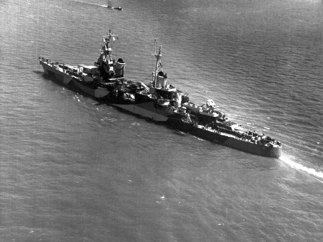 The USS Indianapolis fitted for war, in 1944