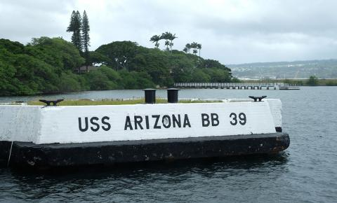 This marks the spot where the USS Arizona was anchored during the attack