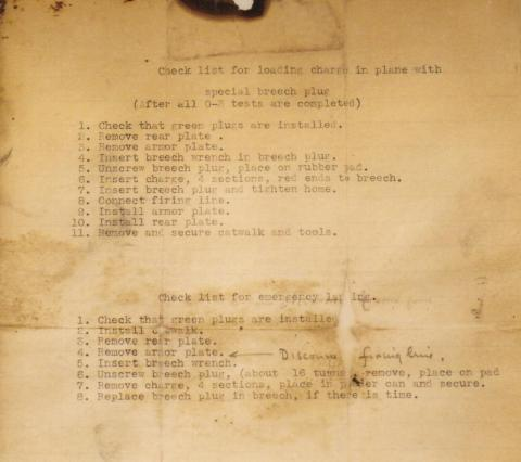 Deak Parsons's checklist for insert charges into Little Boy