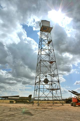 The replica of the Trinity Tower at the National Museum of Nuclear Science and History in Albuquerque, NM. Photo courtesy of the Museum.