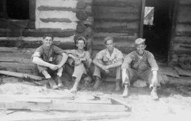 Karl Karpinski, Sgt Daniel Yearout, Michael Morgan, and Sgt John Crimmons at a Cabin near Guaje Canyoun