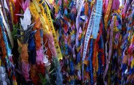 Paper cranes at the Hiroshima memorial today. Photo courtesy James..g, Wikimedia Commons.