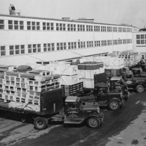 Trucks line up to deliver materials to MIT's Building 20 (Photo courtesy of the MIT Department of Physics)