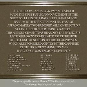GWU Hall of Government Room 209 Plaque
