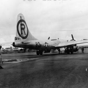 The Enola Gay backs up over the bomb pit