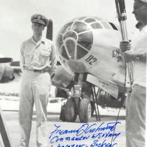 Frederick Ashworth with the Enola Gay. Courtesy of the Joseph Papalia Collection.