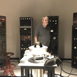 Jim Sanborn with the Trinity device replica