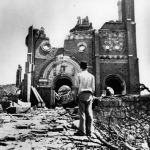 Nagasaki's Urakami Cathedral after the bombing
