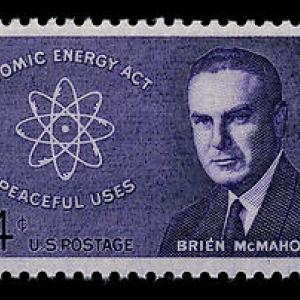 A stamp featuring Senator Brien McMahon.