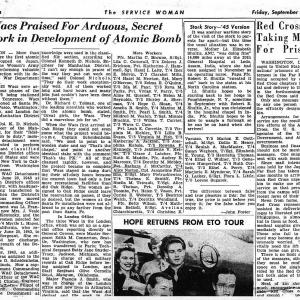 Article on WACs in the Manhattan Project, page 1