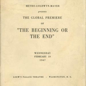 "Cover of ""The Beginning or The End"" film program"