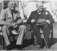 Franklin Roosevelt and Winston Churchill at Casablanca. Photo courtesy of NARA.