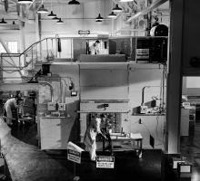 The SUPO, the most powerful version of the Water Boiler Reactor, at Los Alamos, in the 1950s. Image courtesy of Los Alamos National Laboratory.